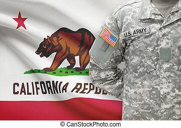 állam, -, amerikai, bennünket, katona, lobogó, kalifornia, háttér