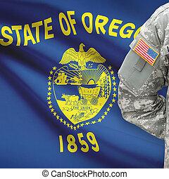 állam, -, amerikai, bennünket, katona, lobogó, oregon, háttér