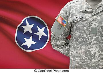 állam, -, amerikai, bennünket, katona, lobogó, tennessee, háttér