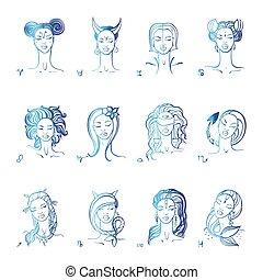 állatöv, cégtábla., gyönyörű, mód, girl., vektor, kéz, húzott, illustration.