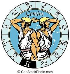 állatöv, ikrek, astrological cégtábla
