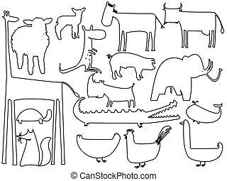 állat, fekete-fehér, körvonal, elszigetelt, white, háttér