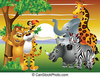 állat, karikatúra, alatt, a, dzsungel