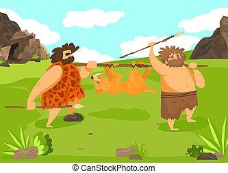 állat, kicsapongó élet, lándzsa, vektor, nature., lakás, vad, ember, történelem előtti, ősi, üldöz, társaság, illustration., idő, hím, betű, vadászat