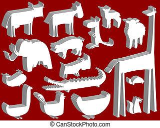 állat, szobrocskák, felett, piros háttér