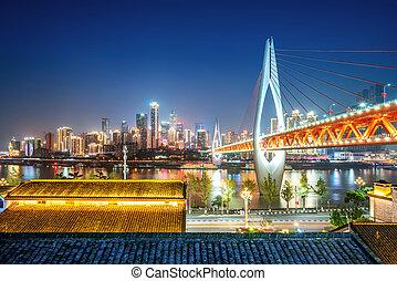 állati tüdő, város, kína, chongqing