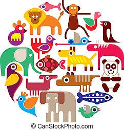 állatkert, állatok, -, kerek, vektor