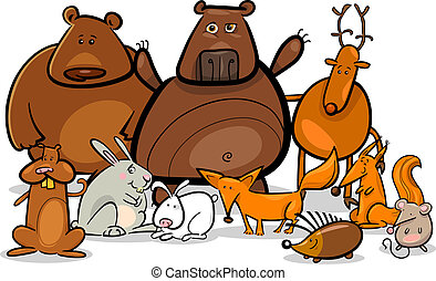 állatok, ábra, erdő, vad, csoport, karikatúra