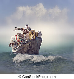 állatok, alatt, egy, csónakázik