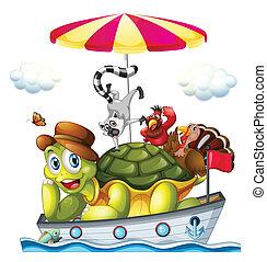 állatok, csónakázik