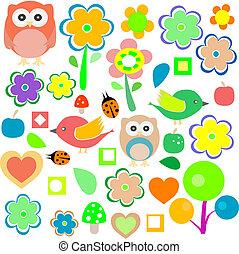 állatok, elements., természet, vektor, tervezés, retro, háttér