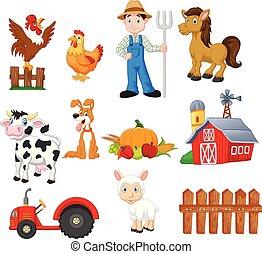 állatok, istálló, növényi, gazdálkodás, traktor, karikatúra...