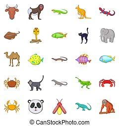 állatok, közül, a, dzsungel, ikonok, állhatatos, karikatúra, mód