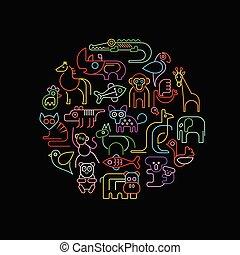 állatok, vektor, neon, kerek, ábra