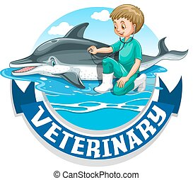 állatot megvizsgál, delfin, állatorvos, aláír