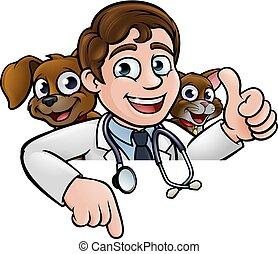 állatot megvizsgál, kutya, aláír, betűk, macska, karikatúra