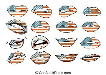 állhatatos, érzékiség, usa, ajkak, zászlók, vector., amerika, nők