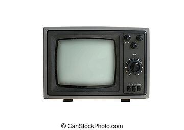 állhatatos, öreg, tv, elszigetelt, háttér, fehér, hasonló dolog