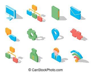 állhatatos, ügy icons, elszigetelt, ábra, vektor, white., 3
