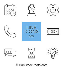 állhatatos, ügy icons, kapcsolódó, vektor, egyenes
