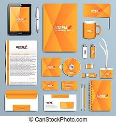 állhatatos, ügy, modern, sárga, vektor, tervezés, irodaszer, közös személyazonosság, templates.