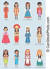állhatatos, alaszka, ábra, vektor, japán, nők