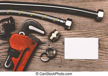 állhatatos, alkatrészek, ügy, fából való, csövek, háttér, csőhálózat házi, eszközök, kártya