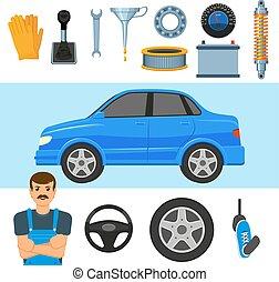 állhatatos, alkatrészek, nagy, autó, szerelő, jármű