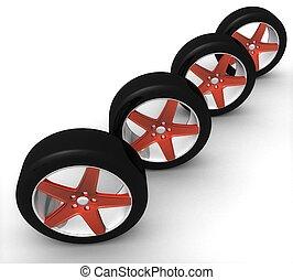 állhatatos, autó, elszigetelt, háttér, tol, white piros, 3