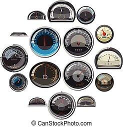 állhatatos, autó, sebességmérő, mód, gyakorlatias