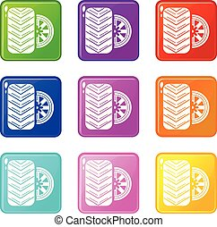 állhatatos, autógumi, ikonok, szín, gyűjtés, 9