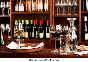 állhatatos, bár, ízlelés, feláll, dekoráció, tálca, bor