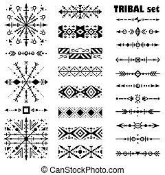 állhatatos, black-and-white, style., vektor, ecset, etnikai, törzsi, set.
