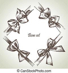 állhatatos, bow., kéz, ábra, húzott, gyeplő