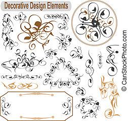 állhatatos, calligraphic, dekoráció, vektor, tervezés, oldal, alapismeretek