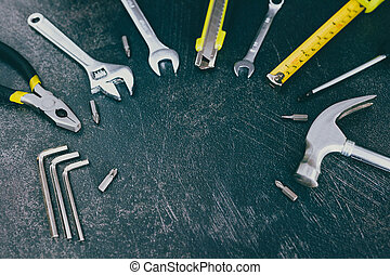állhatatos, copyspace, szöveg, -e, összead, diy, otthon, jel, helyreállítás, eszközök, vagy