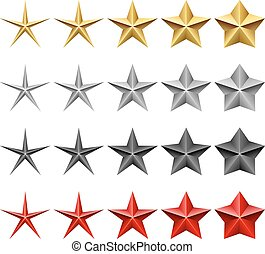 állhatatos, csillag, ikonok, elszigetelt, háttér., vektor, fehér