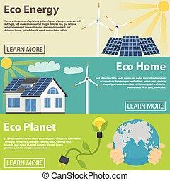 állhatatos, eco, energia, bolygó, zöld, otthon, horizontális, transzparens