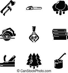 állhatatos, egyszerű, lumberman, mód, ikonok