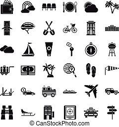 állhatatos, egyszerű, mód, szállítás, ikonok
