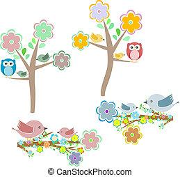 állhatatos, elágazik, természet, ősz, baglyok, elements:, madarak