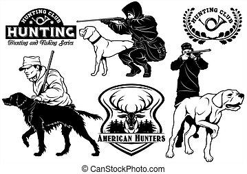 állhatatos, elements., vadászat, klub, elnevezés, kutya, labels., tervezés, emblémák, mutató
