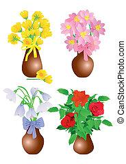állhatatos, elszigetelt, váza, vektor, white virág