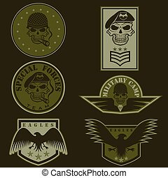 állhatatos, embléma, vektor, tervezés, egység, sablon, hadi, különleges