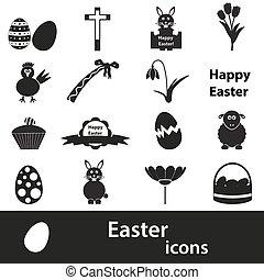 állhatatos, eps10, ikonok, fekete, különféle, húsvét