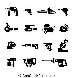 állhatatos, erő, ikonok, -, vektor, eszközök