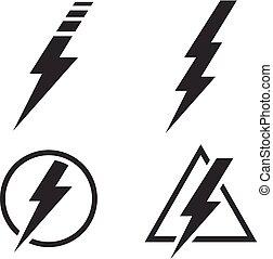 állhatatos, erő, villanyáram, villámlás, vektor, csavar