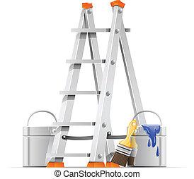 állhatatos, eszközök, szobafestő