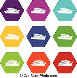 állhatatos, fából való, hexahedron, szín, csónakázik, ikon