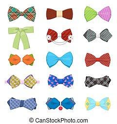 állhatatos, fashion., ábra, íj, vektor, odaköt, mens, buli., ünneplés